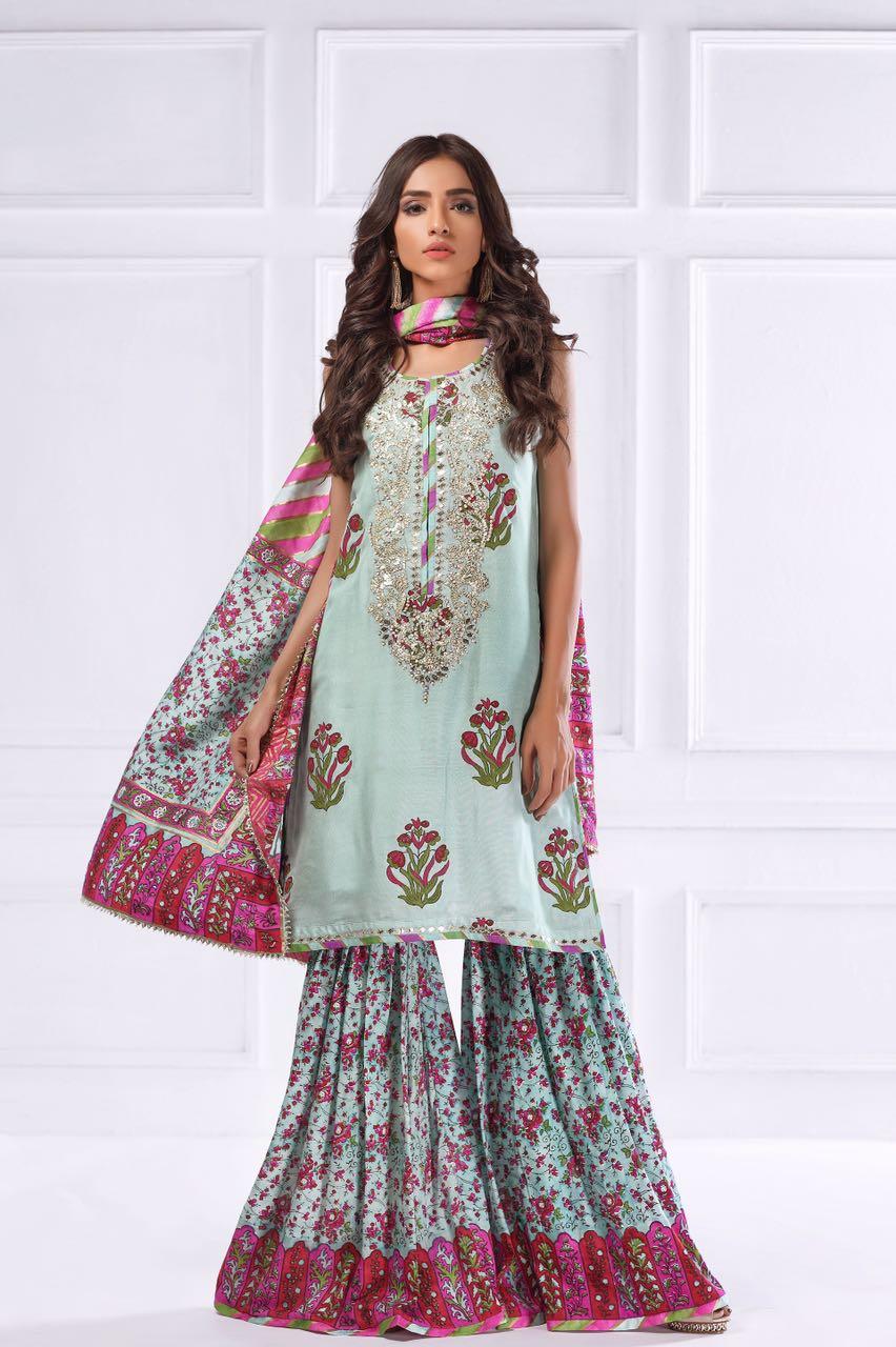 Gota Kinari Dresses Online-shk-76-green-block-printed-shirt